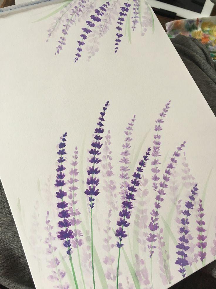 Lavendel Aquarell Ninabutterfliesillustrations