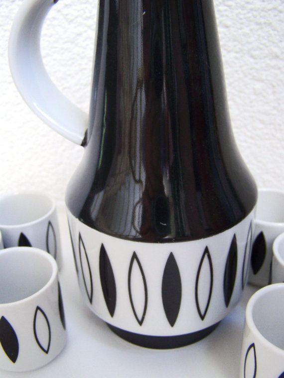 Vintage Liqueur set ceramic bottle cups, GDR