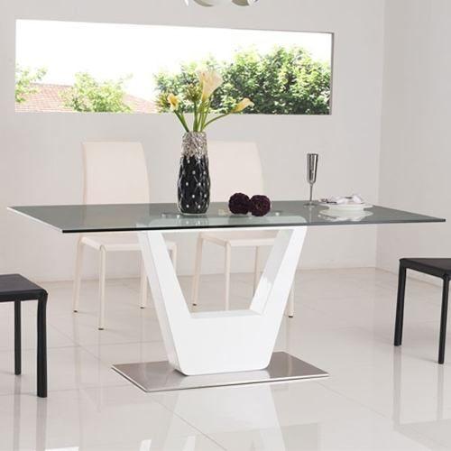 Mesa comedor vidrio tapizada moderna linea premium - Mesa comedor vidrio ...