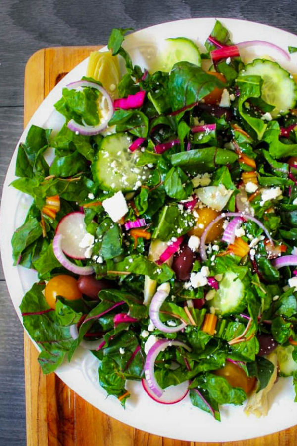 Rainbow Chard Greek Salad