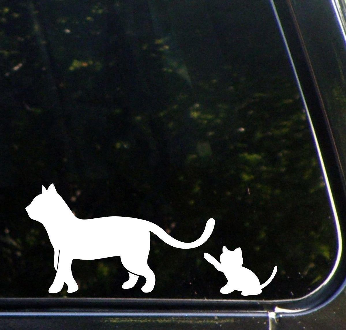 CAR Cat Mom Kitten Playing W Tail DESIGN Car Vinyl - Vinyl decal cat pinterest