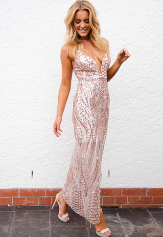 cae369b3 ROSE GOLD SEQUIN MAXI DRESS W LOW V NECKLINE-XENIA BOUTIQUE ...