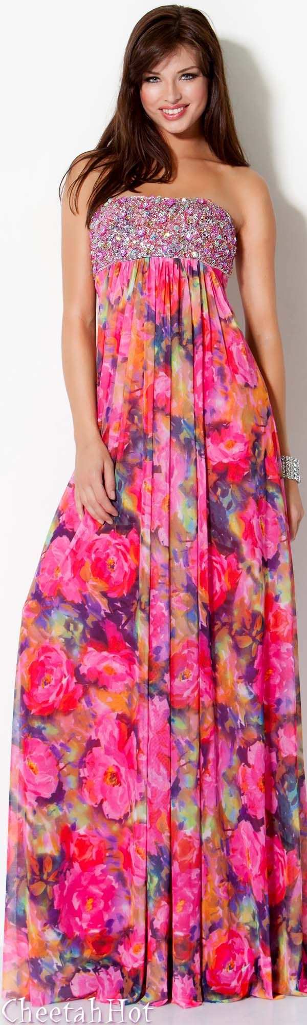 JOVANI - Authentic Designer Dress - Colorful Bejeweled Gown ...