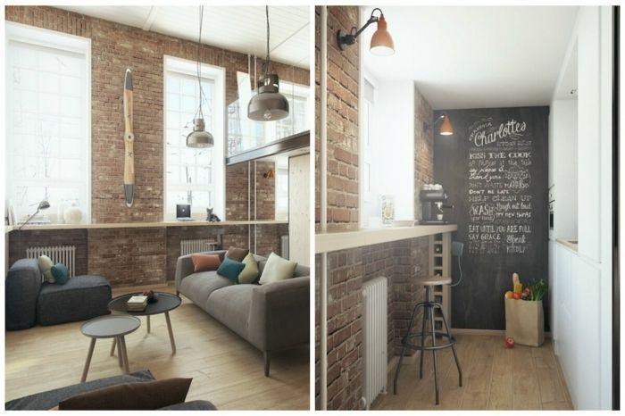 decoracion salon pequeo en estilo industrial barra de madera con