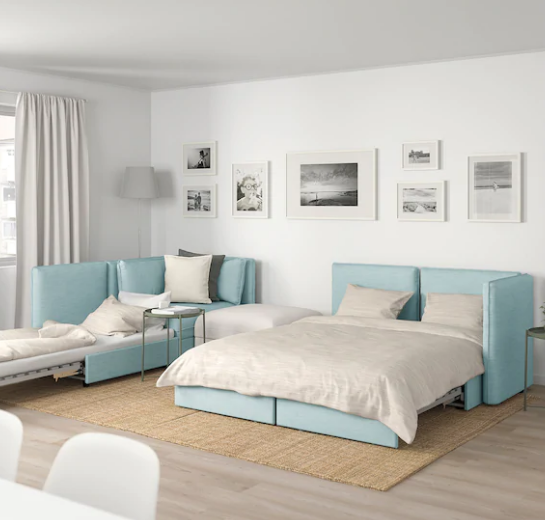 Vallentuna 4 Seat Modular Sofa W 3 Sofa Beds And Storage Hillared Murum Light Blue White Ikea Vallentuna Living Room White Sofa Bed With Storage