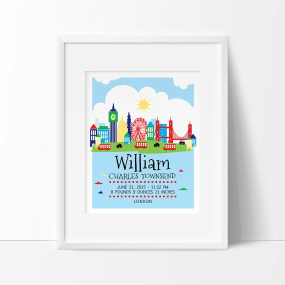 London nursery london skyline personalized baby gift birth baby london nursery london skyline personalized baby gift birth negle