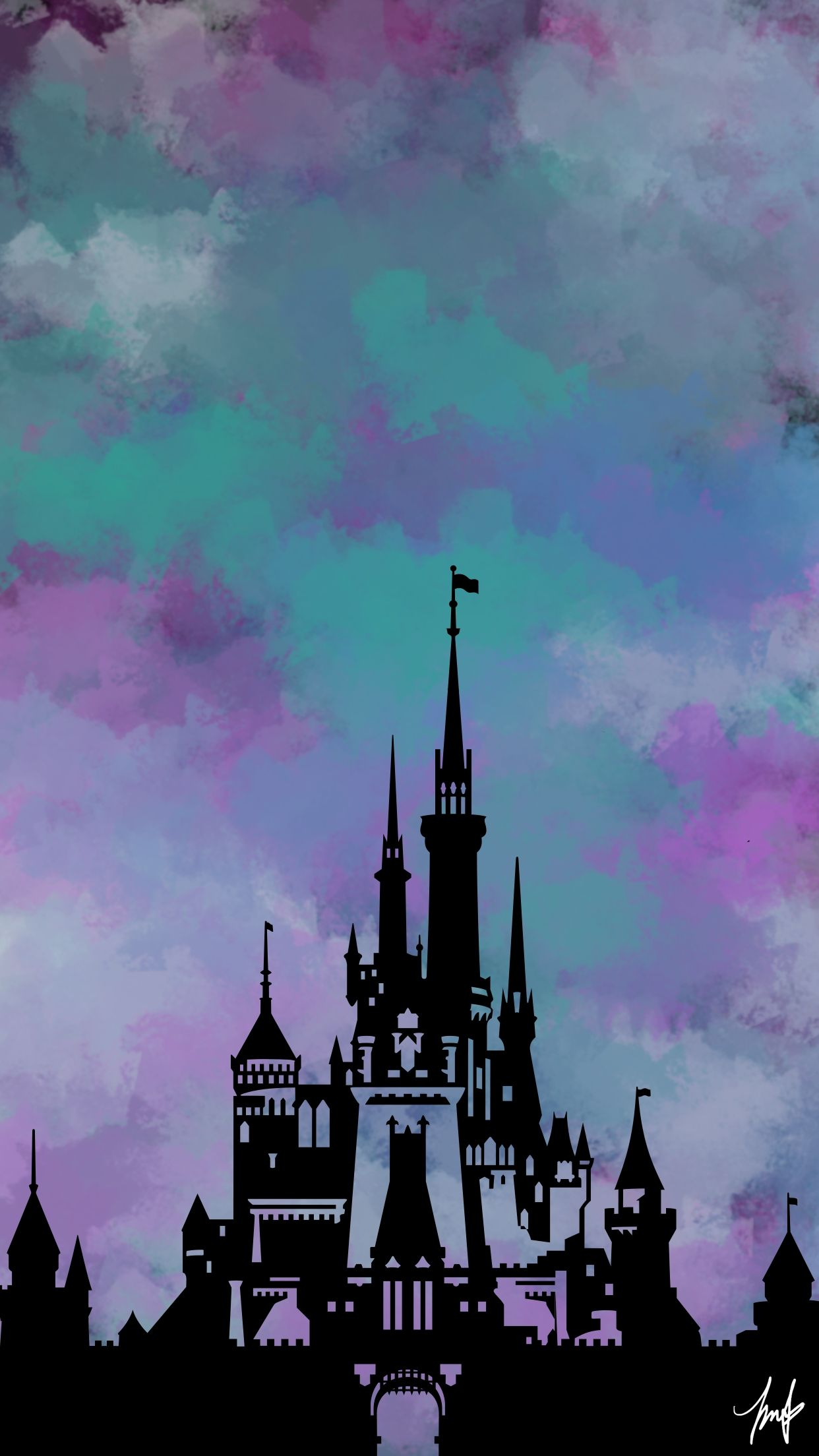 Disney Castle iPhone 8+ Wallpaper in 2020 Lock screen