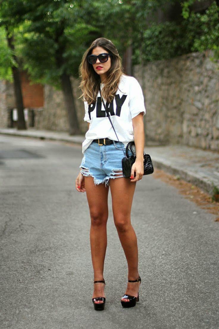 Looks Con Shorts Altos De Cintura Shorts Altos Look Con Short Blogger Moda