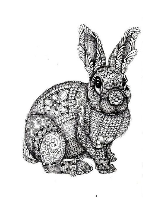 Bunny Vintage Illustration Digital Download By Savvycountrydesigns Animal Coloring Pages Mandala Coloring Pages Mandala Coloring