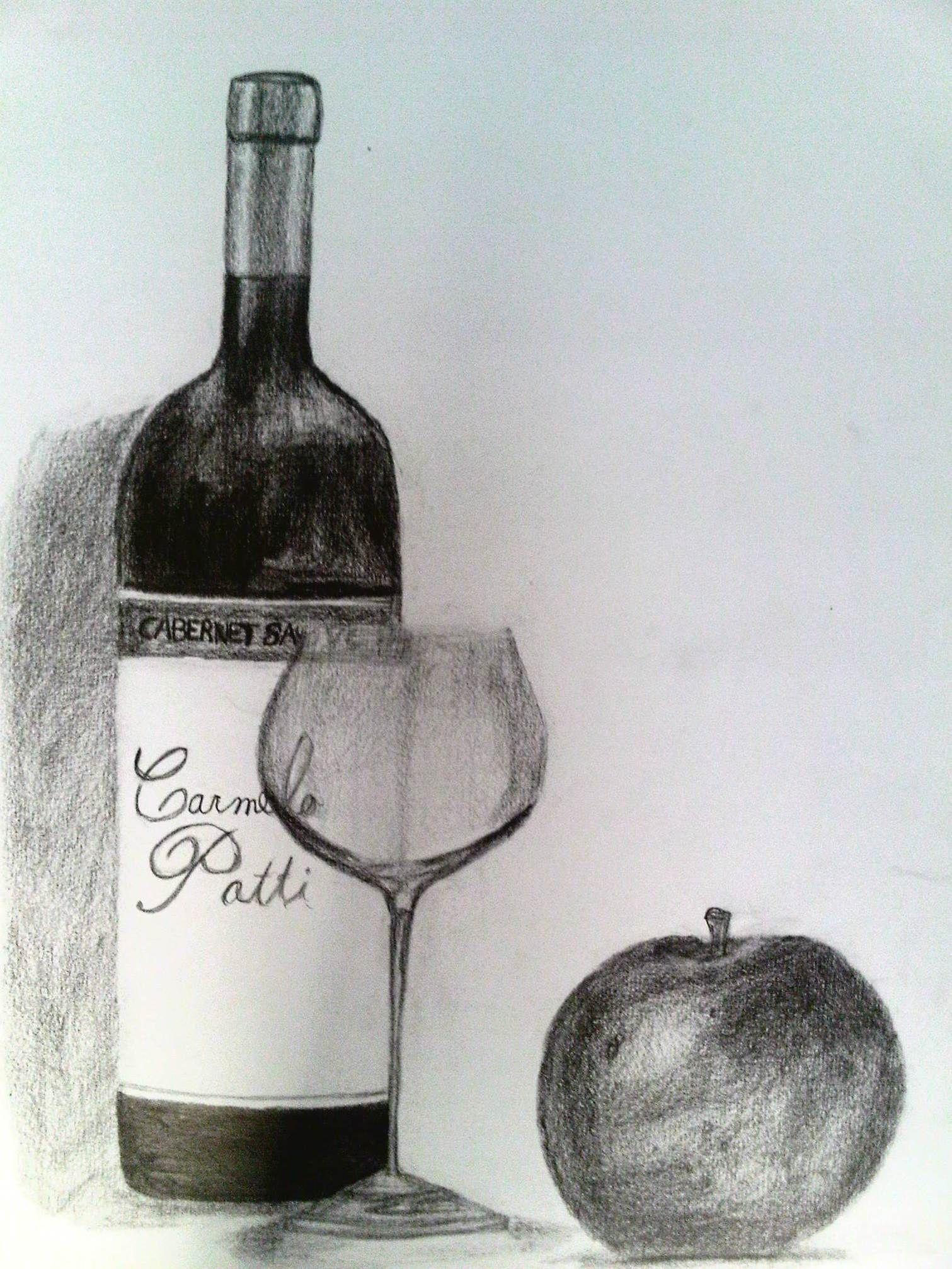 Botella de vino copa y manzana en dibujo grafito by EnriqueNg