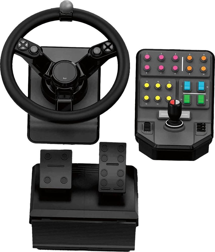 Saitek Heavy Equipment Wheel Pedals And Side Panel Control Deck Bundle Gaming Controller For Pc Black 945 000026 Best Buy Logitech Farming Simulator Heavy Equipment