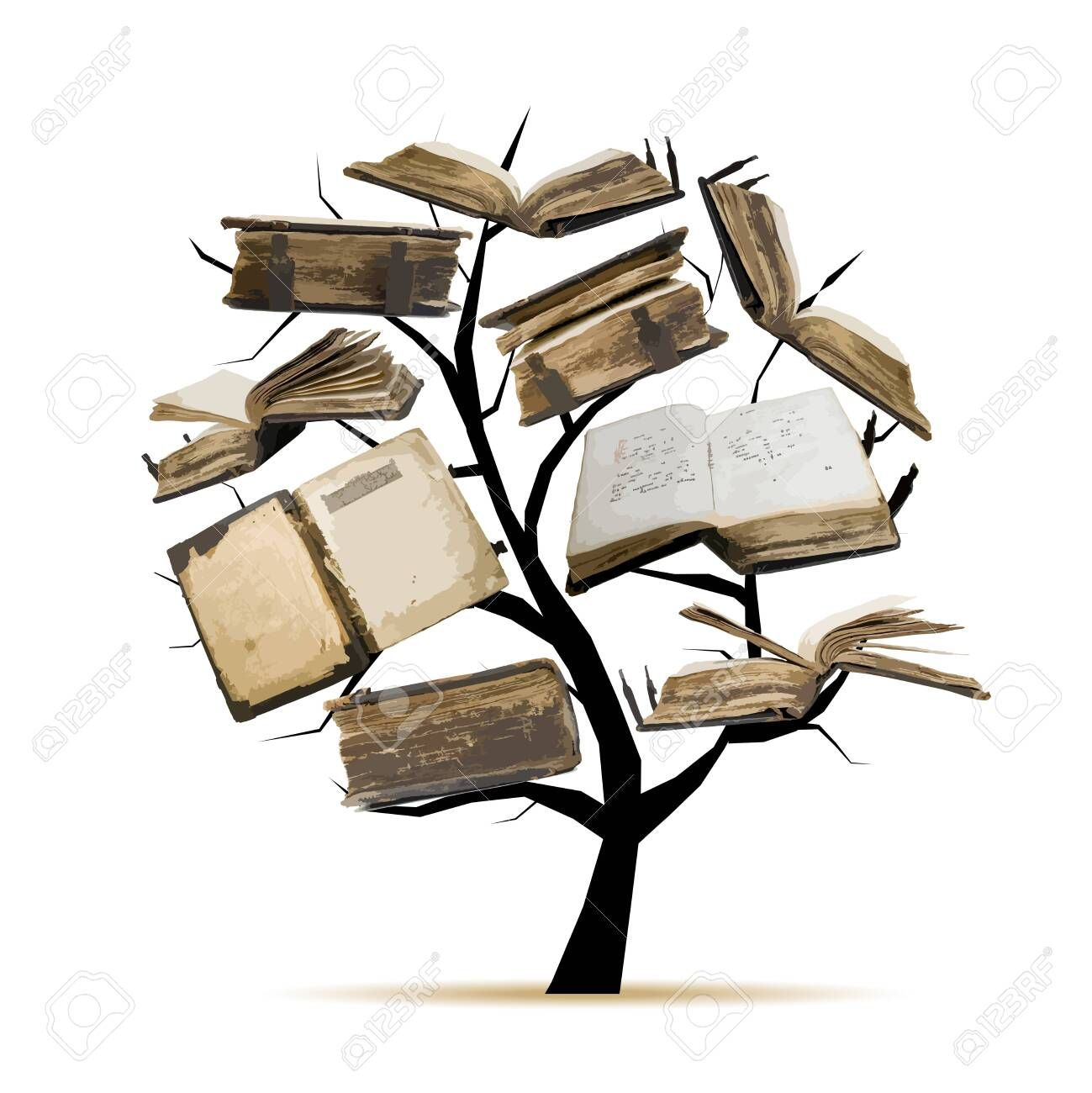 Library tree with old books for your design