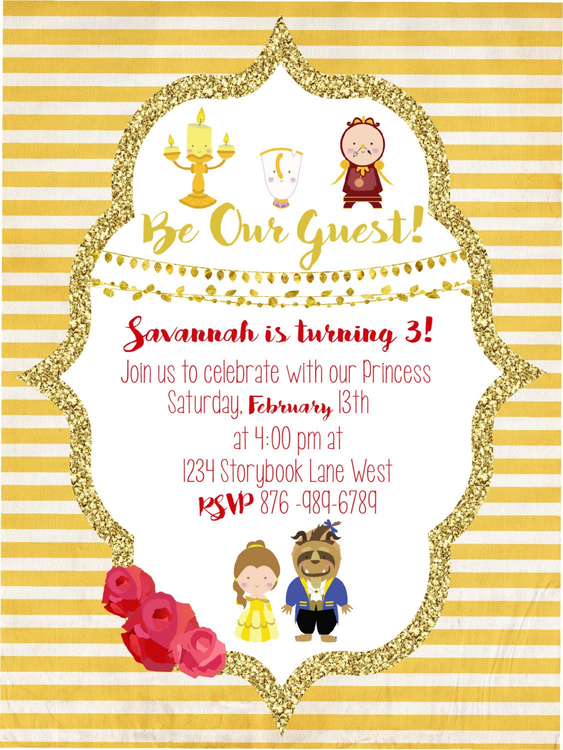 Beauty and The Beast Party Invitation | Party invitations, Beast and ...