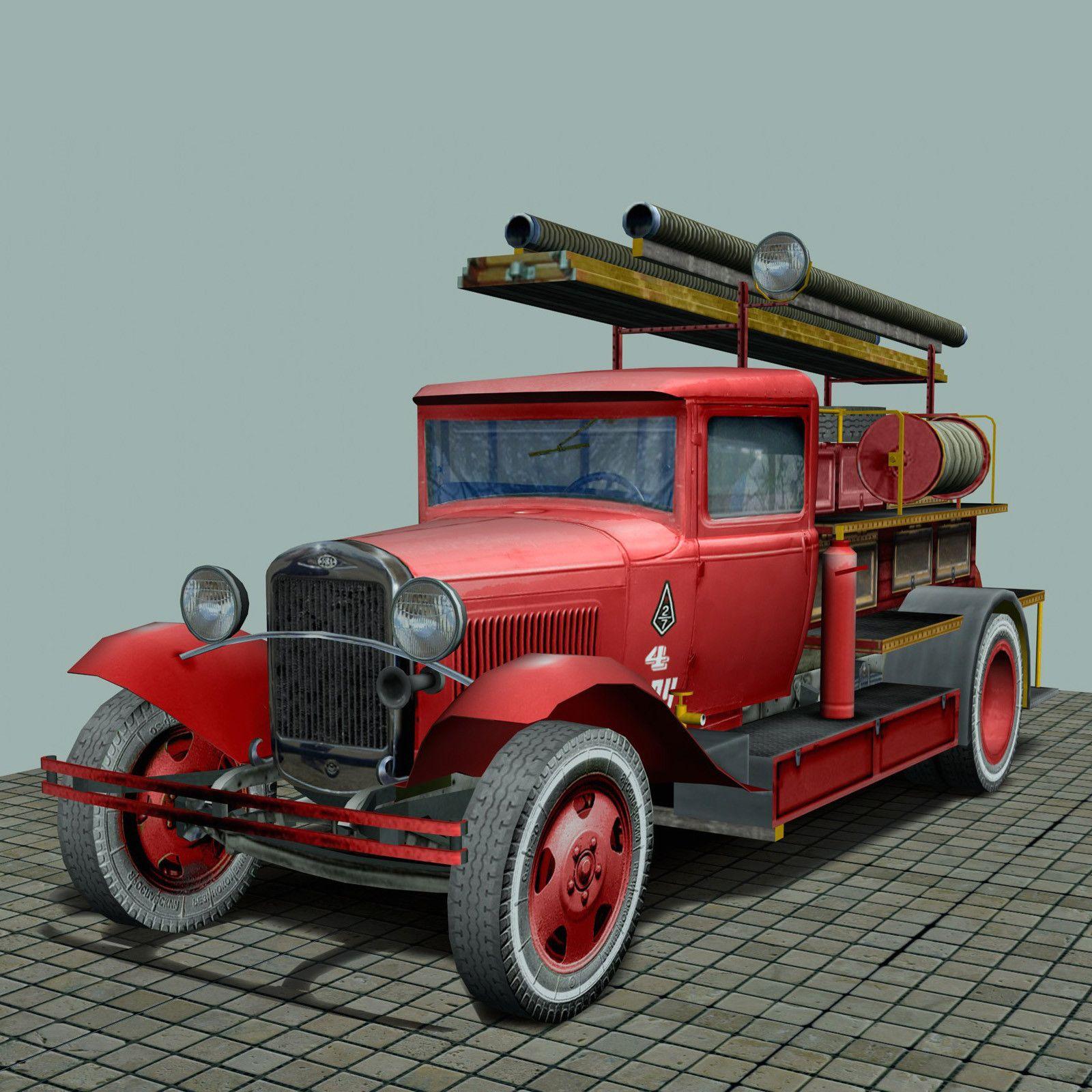 free truck pmg 1 type 3d model fire truck | Papercraft
