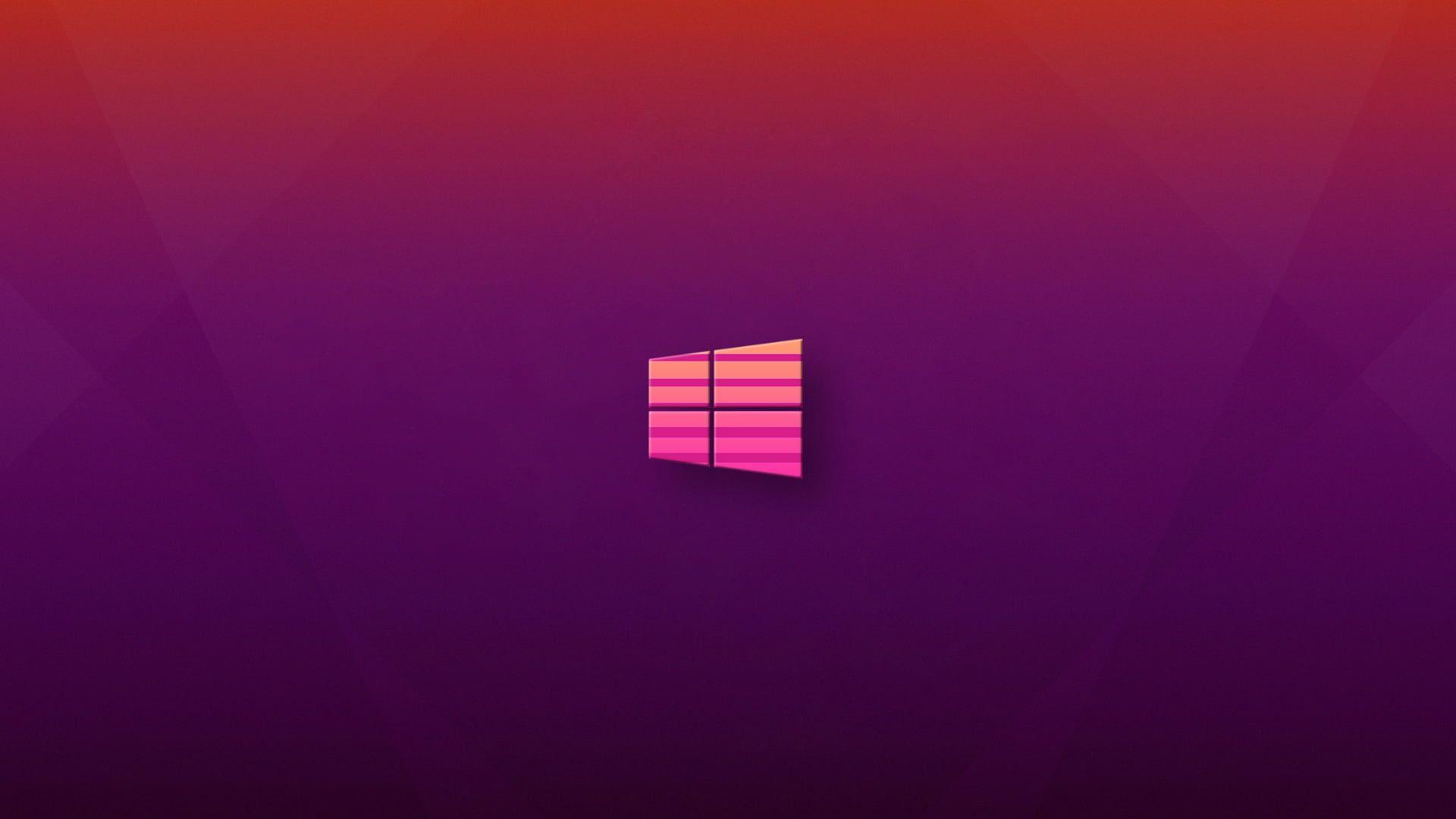 Windows 10 Logo Pink Purple Background Purple Vaporwave 1080p Wallpaper Hdwallpaper Deskt Purple Backgrounds Pink Led Lights Pink And Purple Background