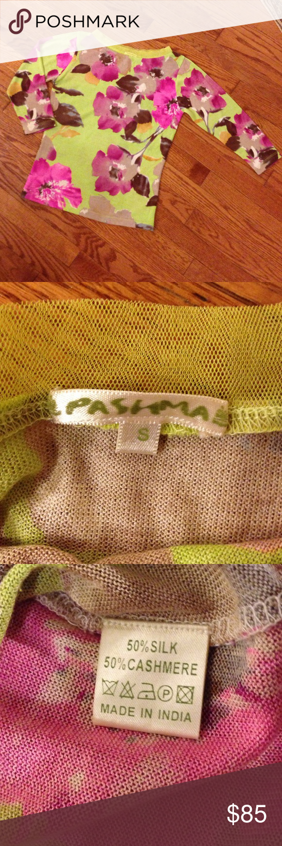 """Pashma Floral Silk & Cashmere Sweater 🌺 This sweater is so pretty!!! 50% silk, 50% cashmere. Lightweight & so soft with feminine sheer collar detail. Made in India 🇮🇳.  Measures approximately 20"""" top to bottom. 16"""" pit to pit. Sleeves 16"""". Marked small but this runs like an XS or maybe an XXS so check out measurements. Excellent condition, looks barely worn! 🌺💐🍀🌹 Pashma Sweaters Crew & Scoop Necks"""