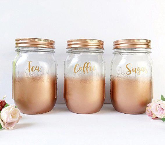 Rose Gold Tea Coffee Sugar Set, kitchen canisters, copper kitchen accessories, copper Mason Jars, Kitchen Storage Jar Sets, storage containers, kitchen storage #kitchenthemes #copperkitchenaccessories