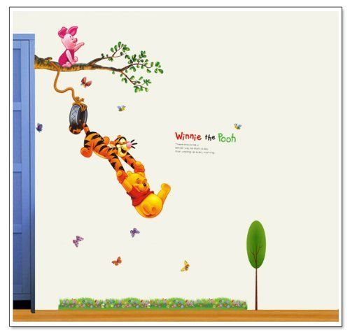 Winnie The Pooh Quotes: Winnie The Pooh and tiger swinging on a tree.. ............ Get Winnie The Pooh Quotes Wall Decals at Amazon from Wall Decals Quotes Store