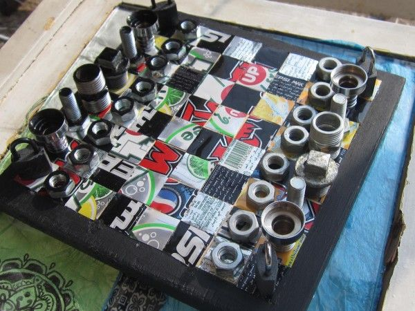 projects ideas metal chess pieces. Found metal chess pieces and board  a bit modern but quite nice take Recycled Chess Board