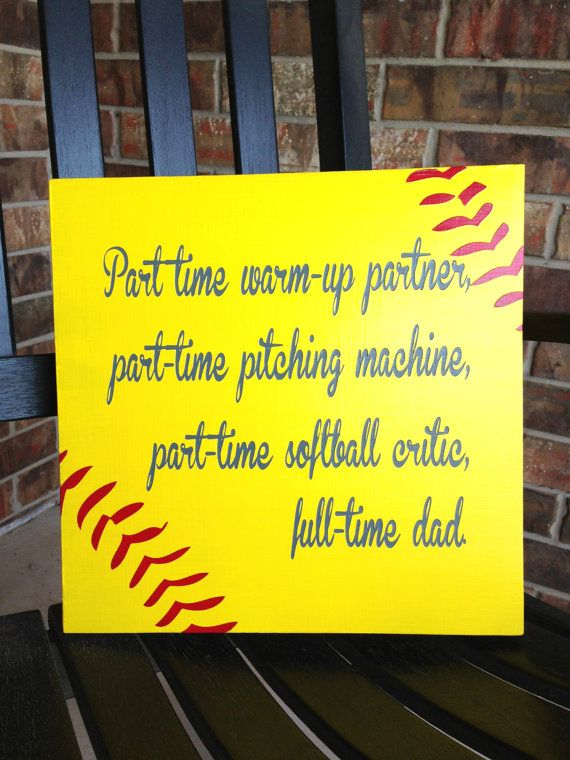 Custom Wood Sign - Softball Dad- Hand Painted Typography Word Art ...