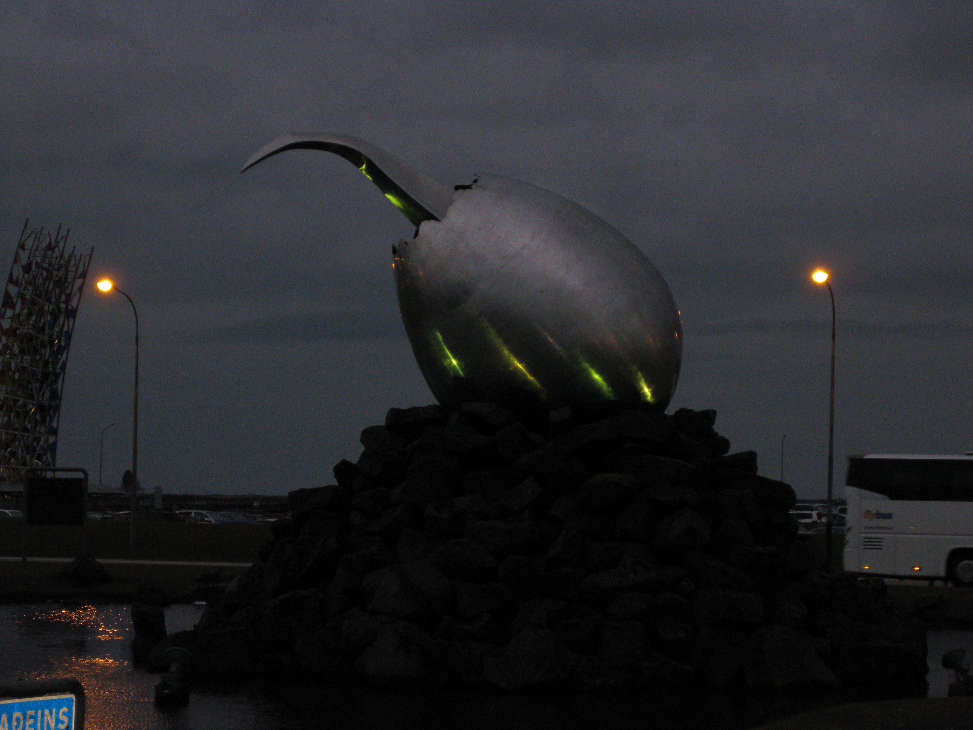 This Sculpture That Looks Like An Alien Egg Is Outside The Airport - Airports in iceland