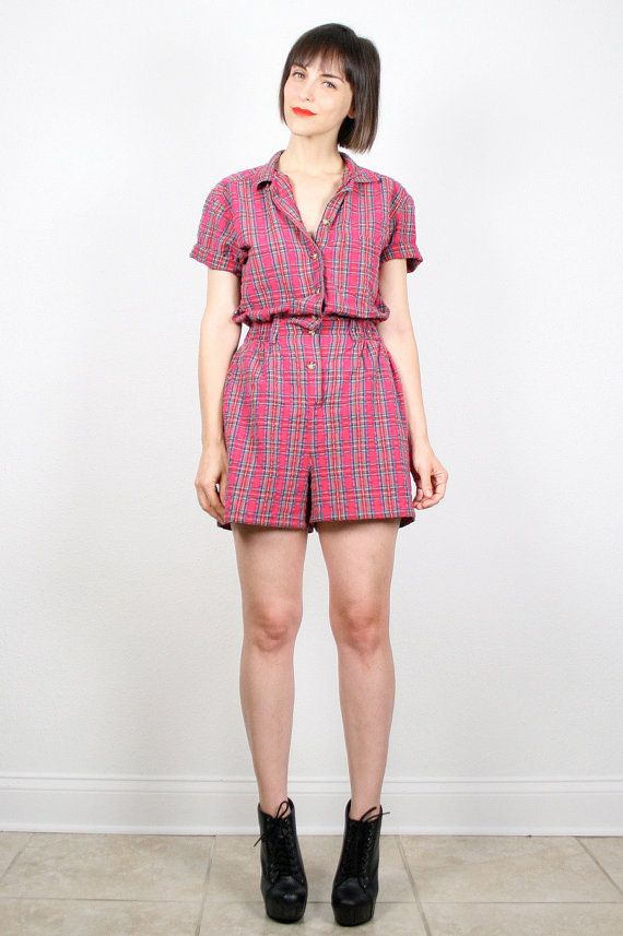 8c0976fdca3 Vintage Red Plaid Romper 1980s Playsuit Shorts Onesie Tartan Plaid 80s  Romper Overall Shorts Preppy Plaid Collared Shirt Jumper S Small M  vintage   etsy ...