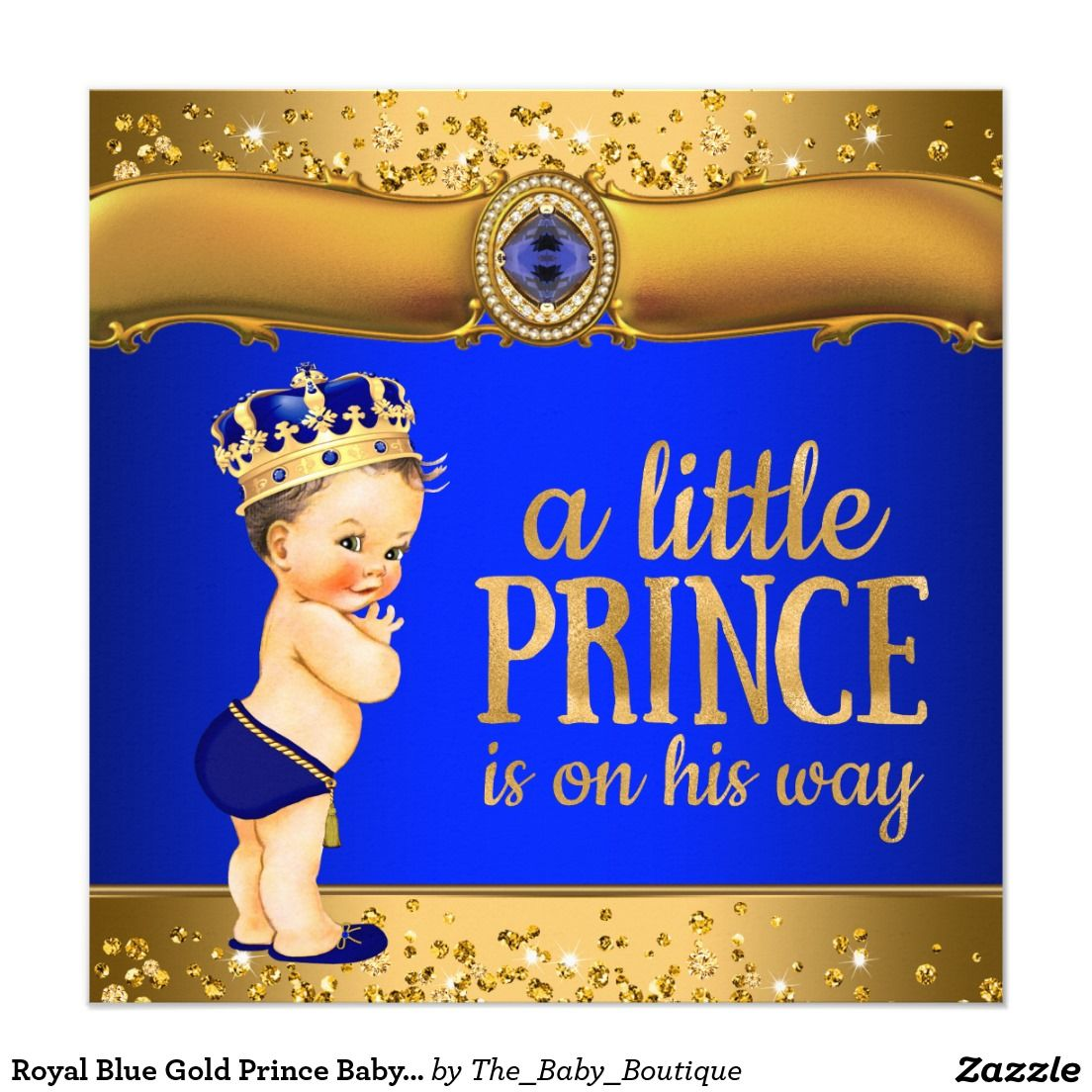 Royal Blue Gold Prince Baby Shower Invitations | Prince Baby Shower ...