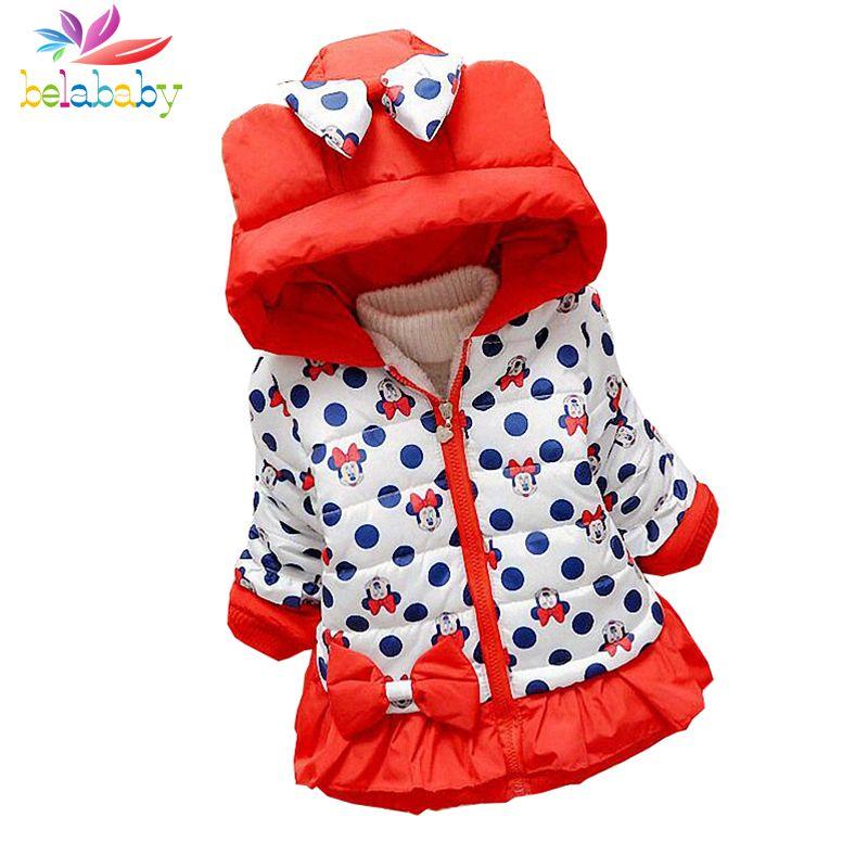 b3f09e91a Belababy Baby Girls Coat Winter New Cute Children Polka Dot Hooded ...
