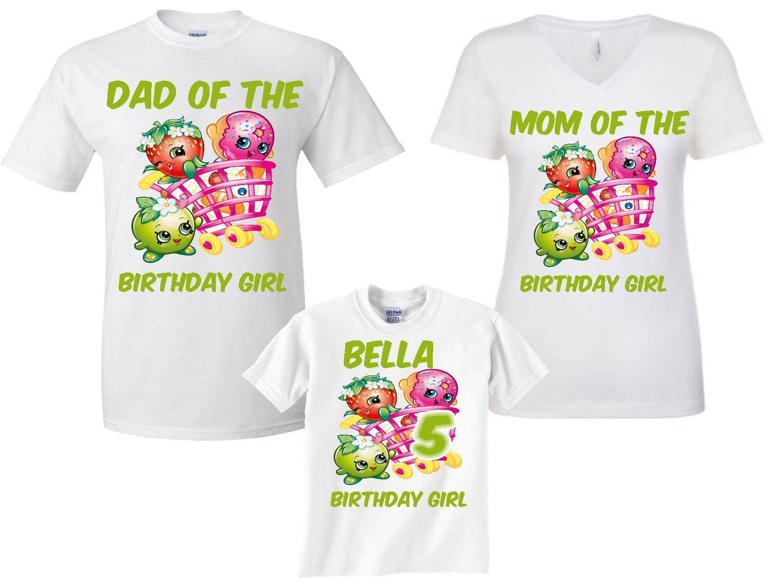 Personalised Childrens Girls Shopkins Birthday T-Shirt White