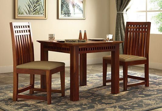 Adolph 2 Seater Dining Set Honey Finish 2 Seater Dining Table
