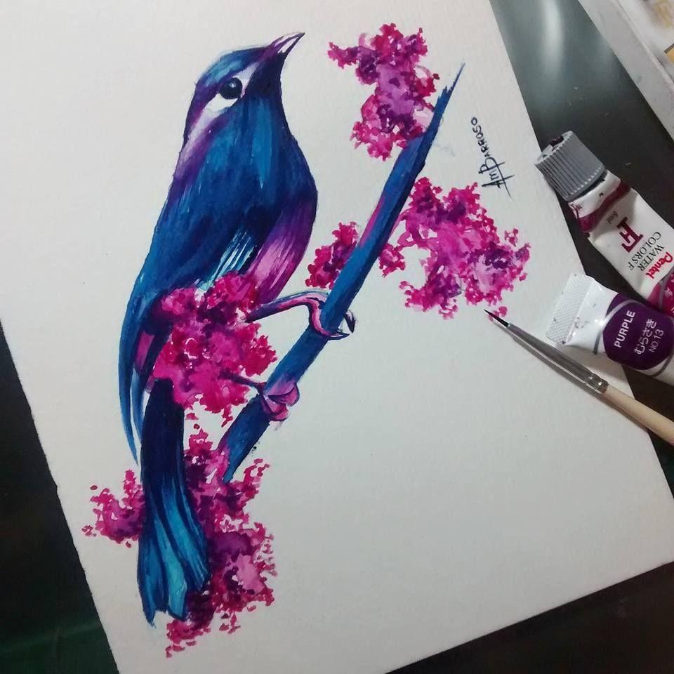 Pássaro em aquarela/ Watercolor  Artist: Amanda Barroso   #watercolor #bird #aquarela