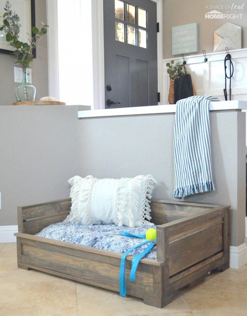 How To Quickly Stain a Dog Bed Wood dog bed, Rustic dog