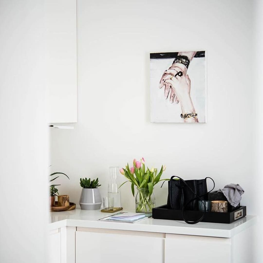 The Cool Grey Rimm Vase Makes A Funky Herb Pot In This Kitchen Interior By