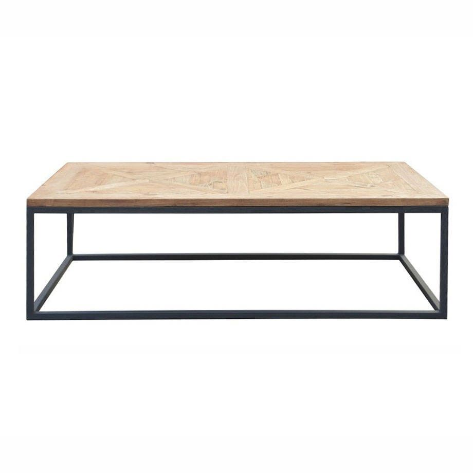 Metal Parquet Coffee Table Reclaimed Wood