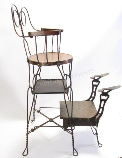 Antique Shoeshine Chair, Wire Frame #antique #shoeshine #wickliffauction - Antique Shoeshine Chair, Wire Frame #antique #shoeshine