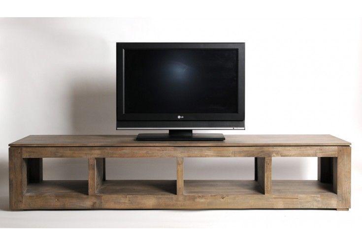 Meuble TV plasma hévéa massif gris 4 niches TVs and House