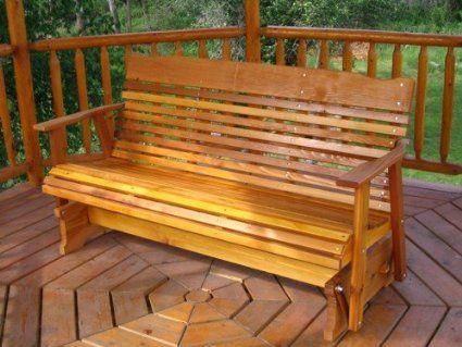 5u0027 Cedar Porch Glider W/stained Finish, Amish Crafted