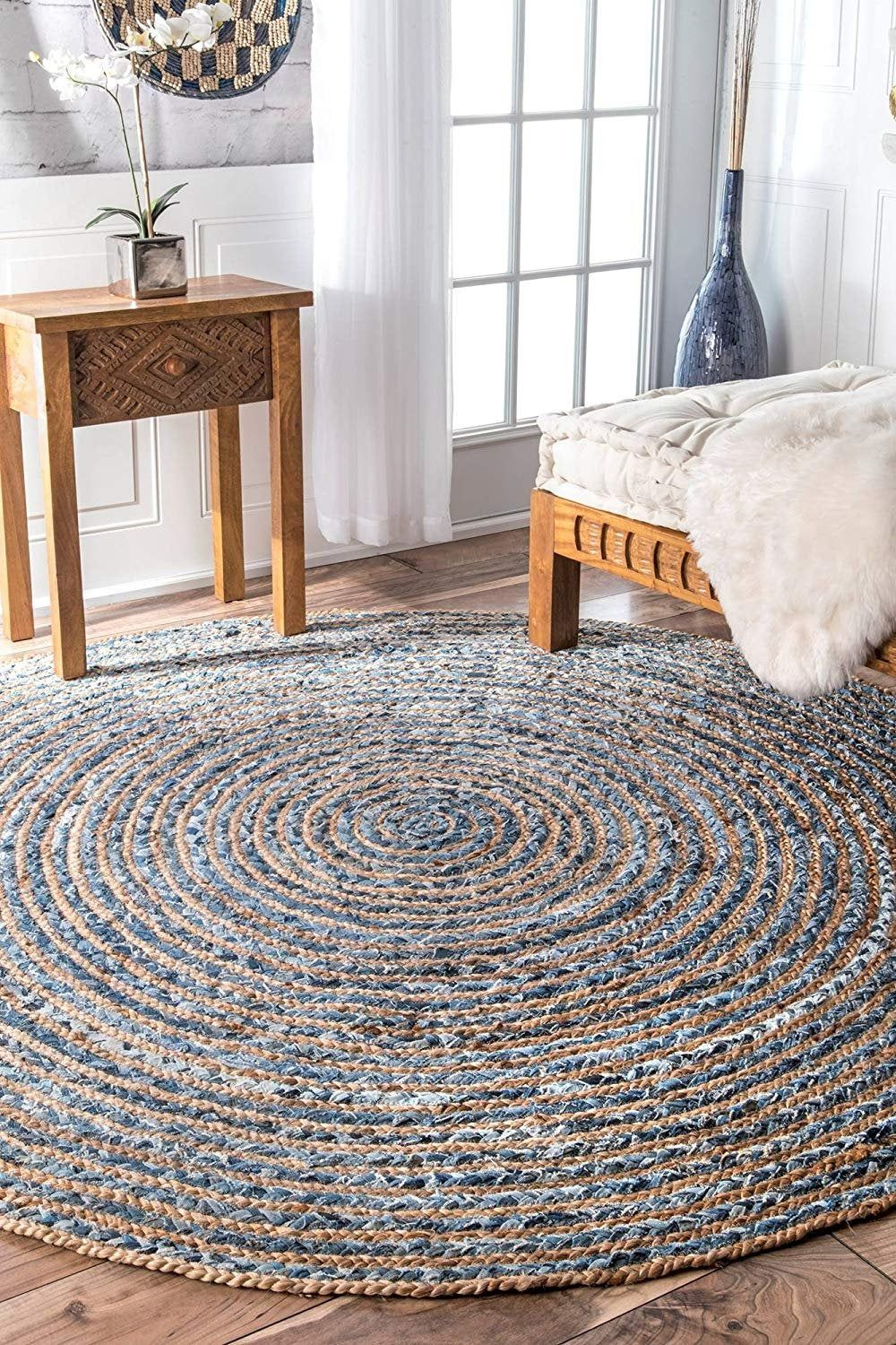 Indian Hand Braided Bohemian Colorful Cotton Chindi Area Rug Multi Colors Home Decor Rugs Cotton Area Rugs Floor Rug Circle Rug 5 Round Rug In 2020 Braided Rag Rugs Jute Round