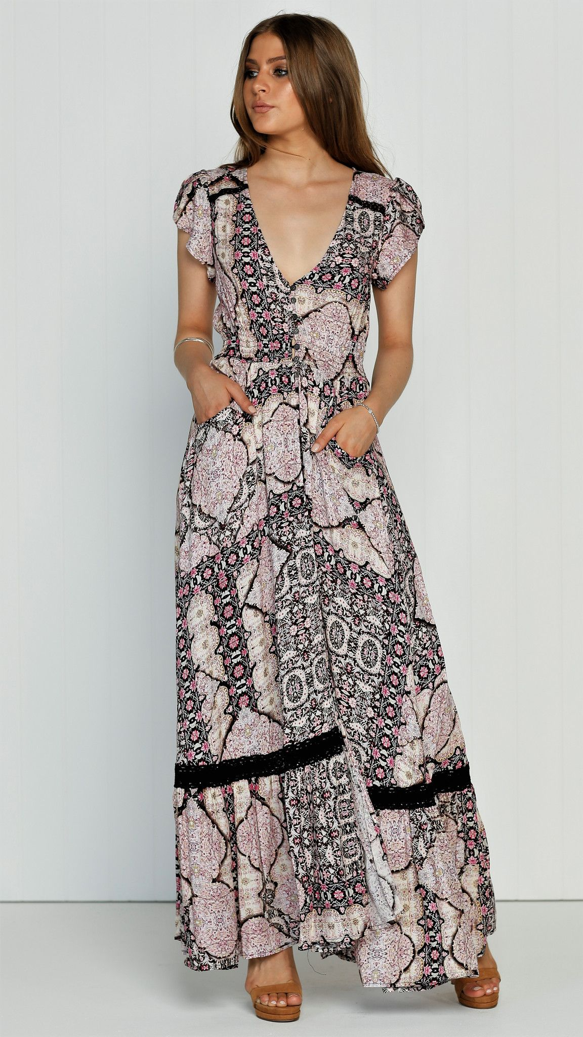 Beautiful pink white and black floral print maxi short sleeve