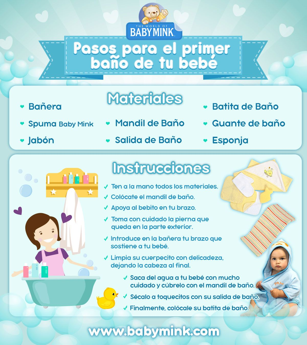Pasos Para El Primer Bano Del Bebe Baby Mink Bebe Cuidados