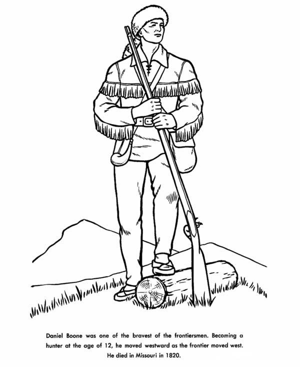 hunter daniel boone the hunter coloring page - Student Coloring Pages