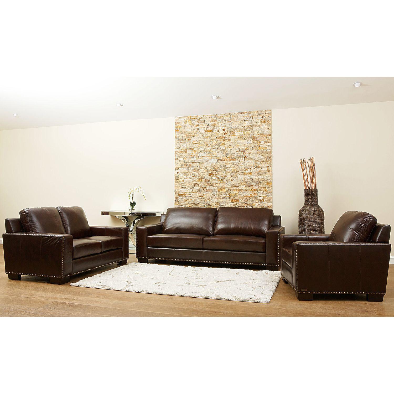 Brighton Hand Rubbed Top Grain Leather Sofa Loveseat And Armchair Set Sam S Club Top Grain Leather Sofa Love Seat Armchair Sets #sams #living #room #furniture