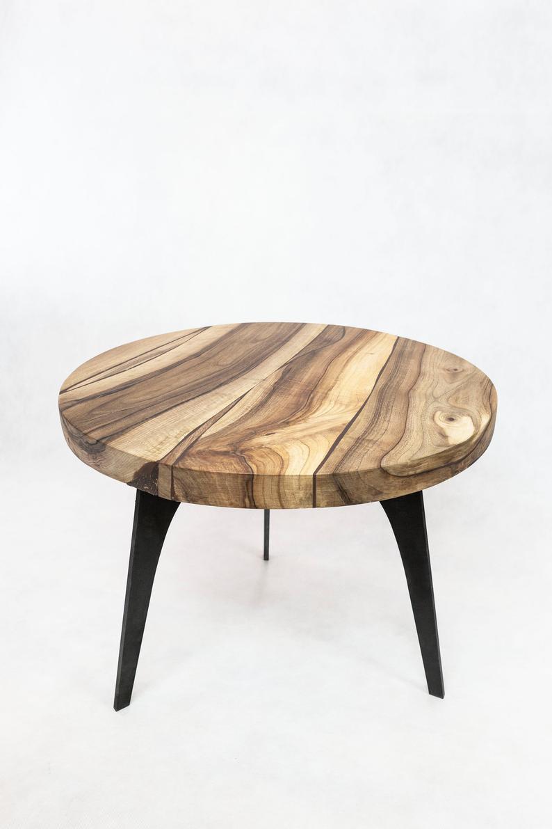 Solid Walnut Round Coffee Table 3 Steel Legs Etsy Coffee Table Round Coffee Table Table [ 1191 x 794 Pixel ]