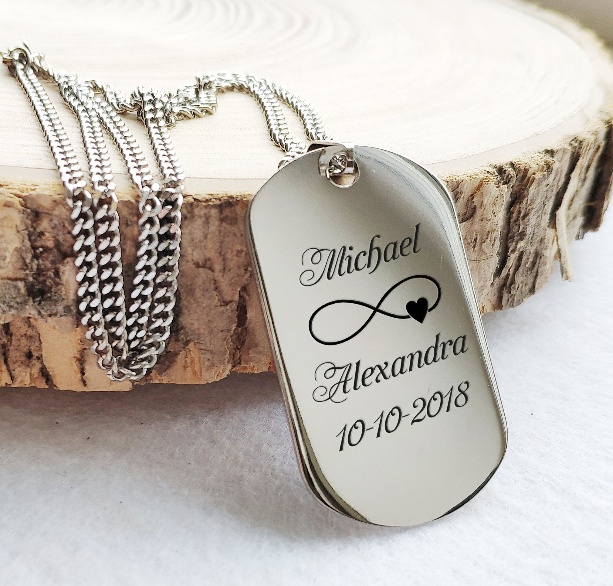 Mens Personalized Dog Tag Necklace Husband Gift Boyfriend Gift