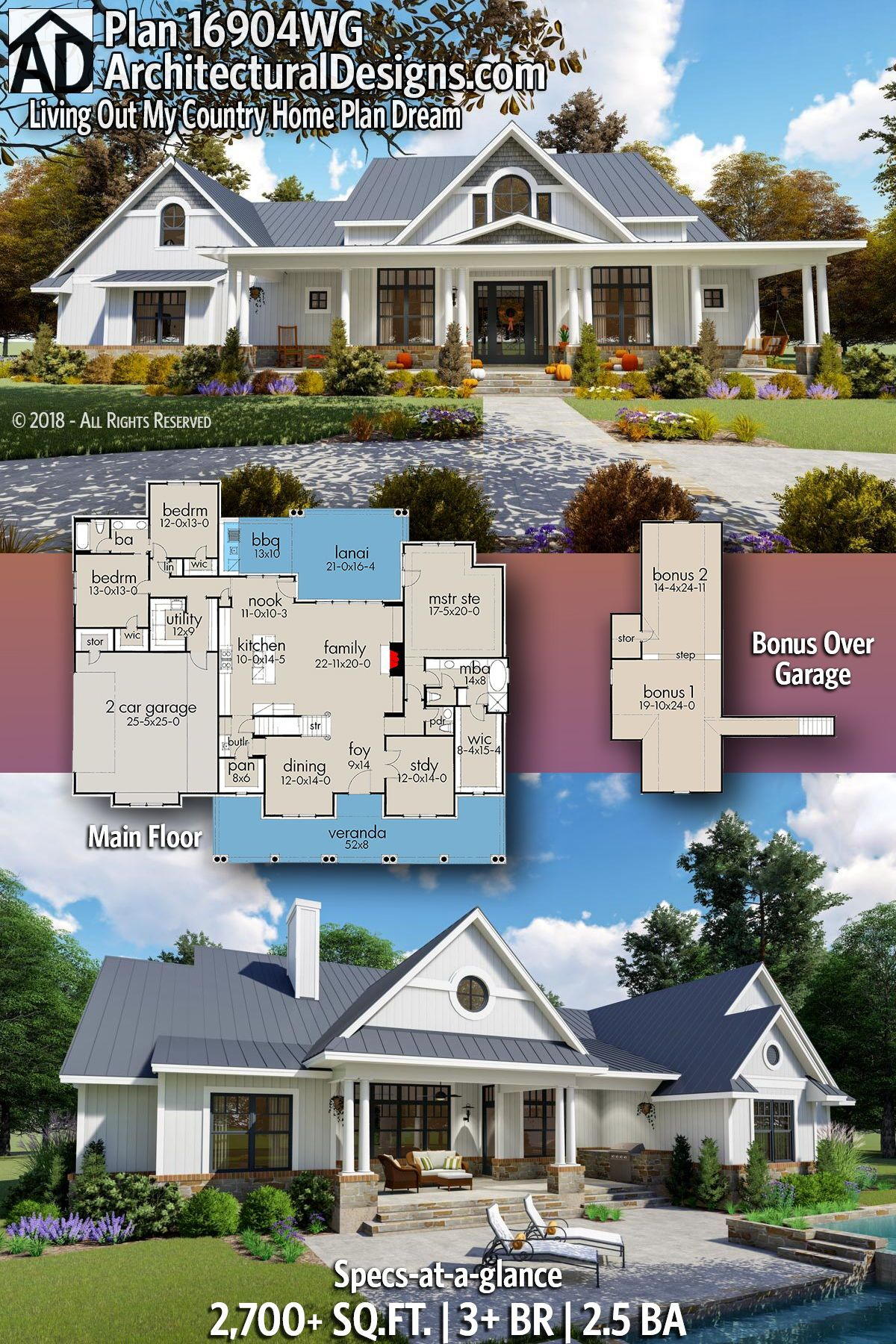 Plan 16904wg Living Out My Country Home Plan Dream Country House Plans Farmhouse Plans House Plans