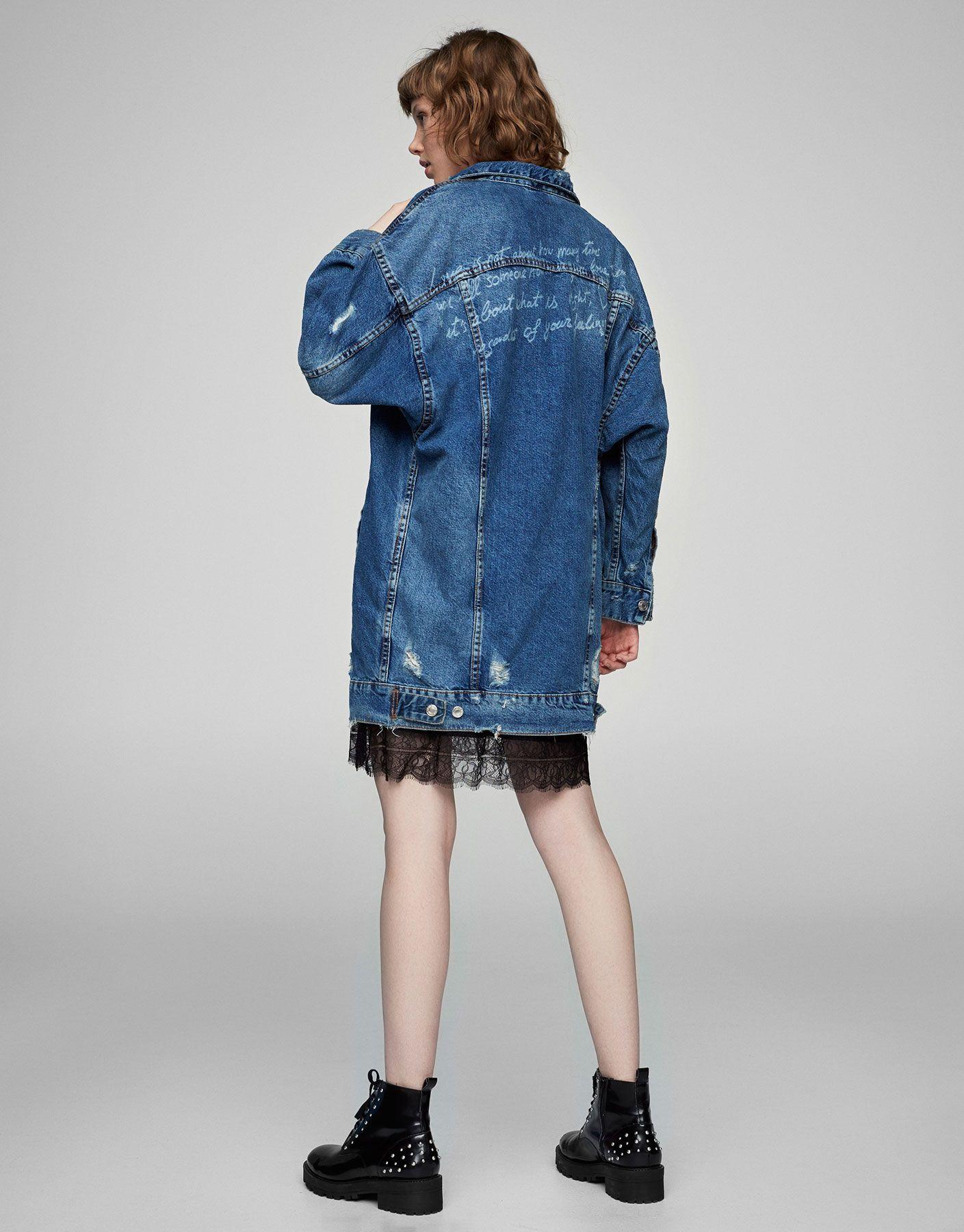 Long ripped oversized denim jacket denim coats and jackets clothing woman pull bear - Jeansjacke damen oversize ...