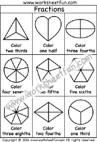 Coloring Fractions – Halves, Thirds, Fourths, Fifths, Sixths