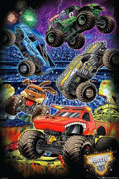 Monster Jam Stadium Cartoon 222 61 X 91 5cms Poster Free Delivery Monster Jam Monster Trucks Birthday Party Monster Trucks