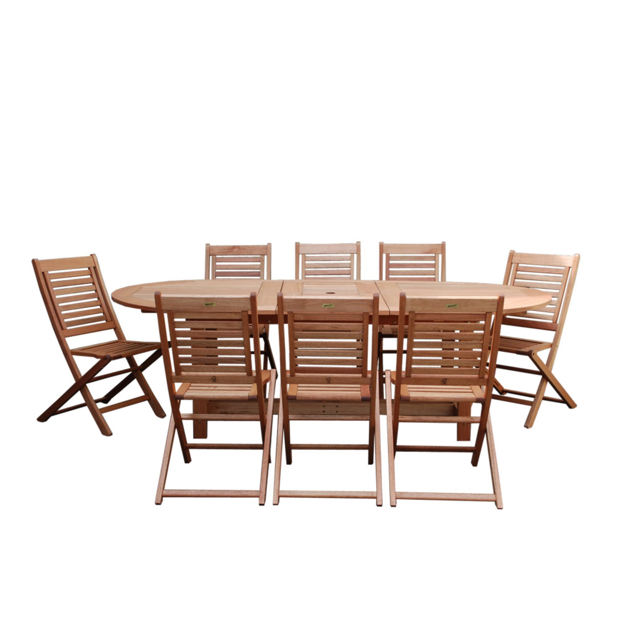 Vermont Extendable Garden Table And Chair Set: 9-Piece Brown Milano Eucalyptus Grand Oval Extendable