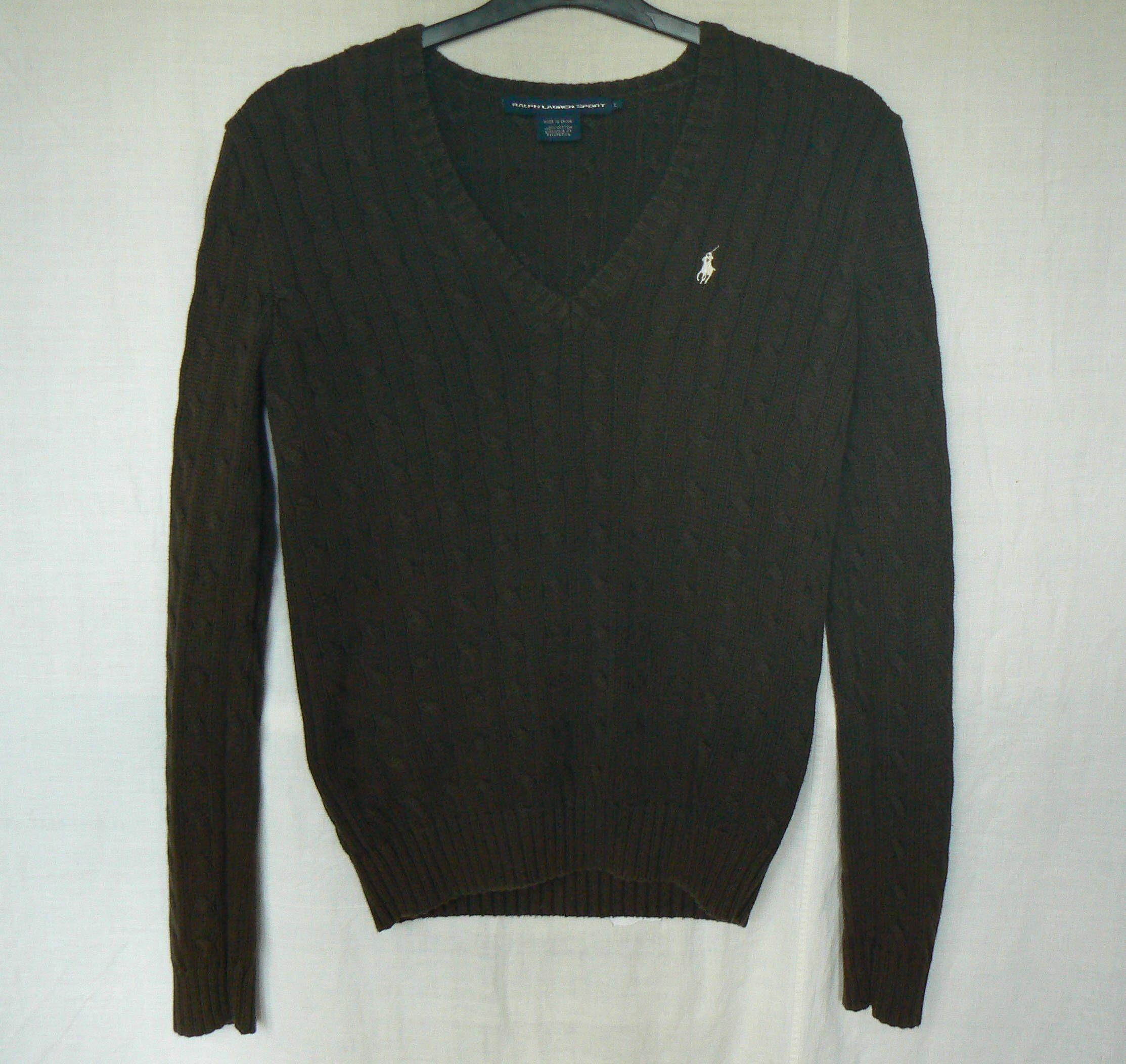 Ralph Lauren Sport Mens Brown 100% Cotton V-Neck Sweater Jumper ...